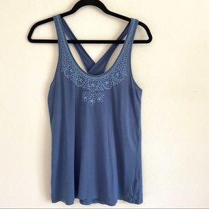 American Eagle Embroidered Cross Back Tank Top
